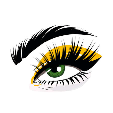 Pemanent makeup eyelash extension beauty illustration