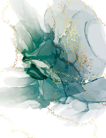 green watercolor abstract teal background, aquarelle ink blob with gold glitter elements 矢量图像