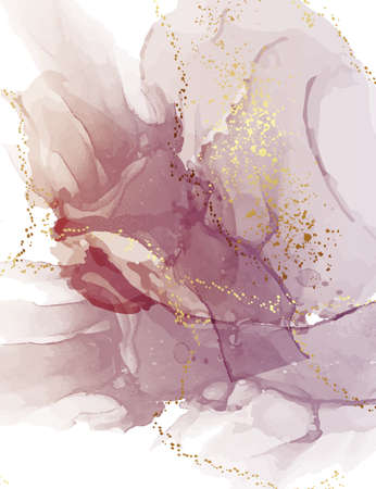 Abstract purple watercolor, violet gold digital paper