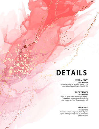 Pink watercolor texture, alcohol ink marble liquid flow Vector illustration for wedding card, birhday ivitation, greetings cards, web banners, digital paper, print, scrapbooking