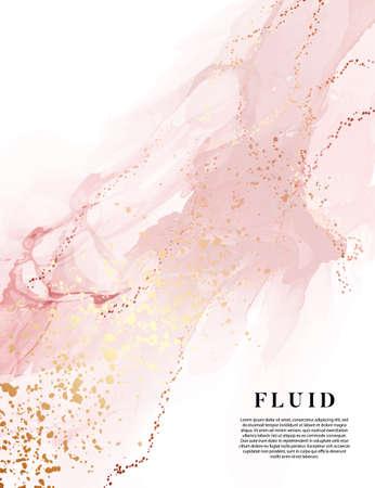 Blush pink original watercolor painting digital paper, gold banner water texture fluid