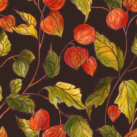 Fall autumn physalis plants dark, Ripe physalis bush seamless pattern. Redberries farm background fall design, autumn chinese lantern flowering bloom 免版税图像