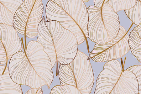 Gold colocasia palm leaves tropical plant pattern