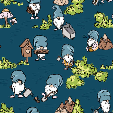 Garden gnomes fabric seamless fairy tale cartoon characters planting and working in garden. Folklore yard evils