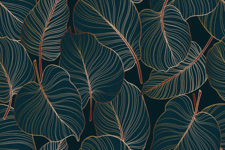 Colocasia green leaf, Monstera delicosa tree seamless pattern, gold leaves