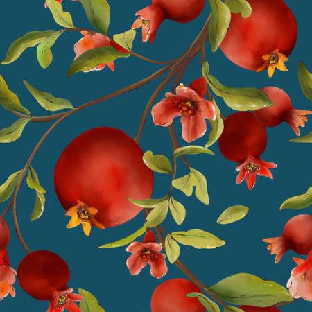 Pomegranate pattern, watercolor, fruit flower,  food tree bloom illustration, leaf branch, color tropical design ,
