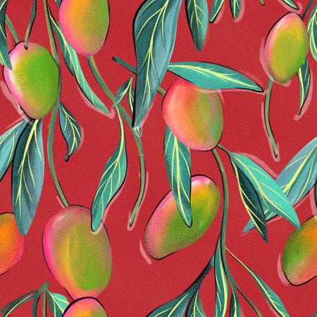 Mango tree seamless pattern , surface textile cover 免版税图像