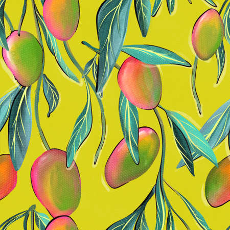 Mango fabric pattern pink green plant 免版税图像