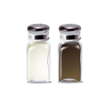 the salt and pepper isolated on white background. The kitchenware. Spice