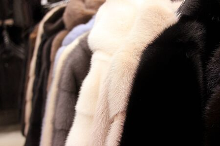 The fur coats in the shop. The fluffy background. In the wear shop