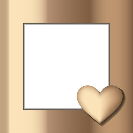 Gold heart on the frame. Metallic template for greeting card. Love message. Saint Valentine Day symbol with text space Ilustração