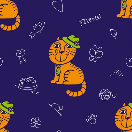 Seamless pattern for textile. Mr ginger cat in the green hat and tie. Cute red kitty on the dark blue background. Kids club or zooclinic. Backdrop or banner