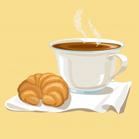 white napkin: Cup of tea and two croissant on a white napkin