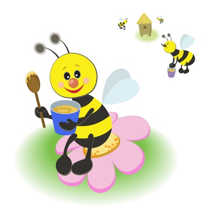 eats: bee eats honey large wooden spoon out of the blue bucket, she sits on a pink flower, bees carry honey in the hive. Cartoon illustration Illustration