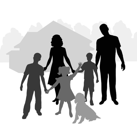 silhouette family on the background of his home
