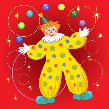 circus clown  juggling balls and rings Vector