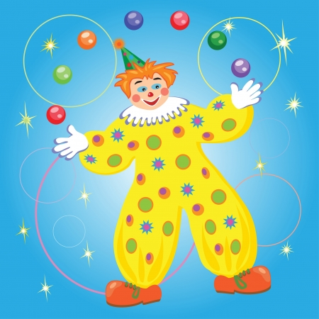nose ring: clown juggling balls and rings