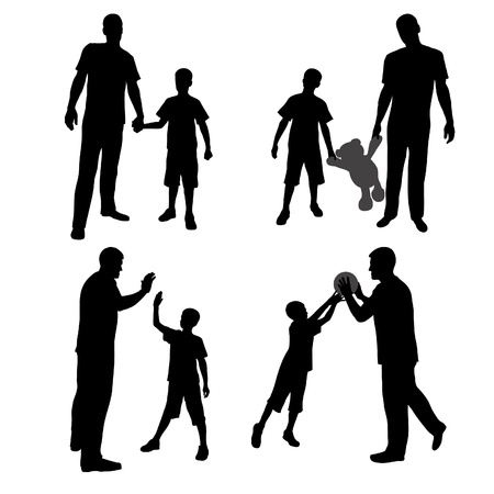 bear silhouette: Group silhouettes of man and boy, family, dad and son
