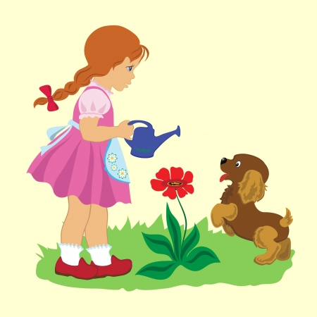 Cartoon illustration of  little girl with a puppy on lawn watering a flower. Vector