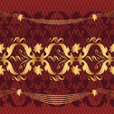 golden pattern on a claret background Vector