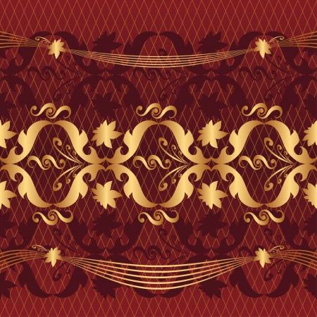 claret: golden pattern on a claret background Illustration