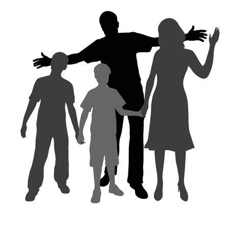 hands holding house: Silhouette of parents and children  Illustration
