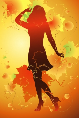 silhouette of a beautiful woman at the autumn background of maple leaves Vector