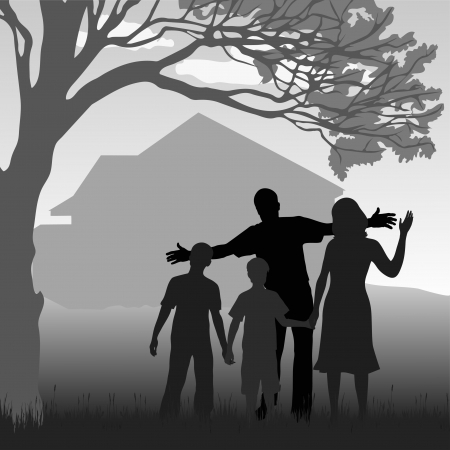 silhouette of the family in the garden at the background of the house