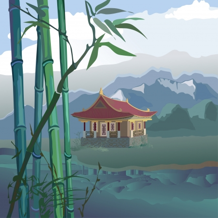 landscape with a pagoda, bamboo and mountains on the banks of the river Illustration