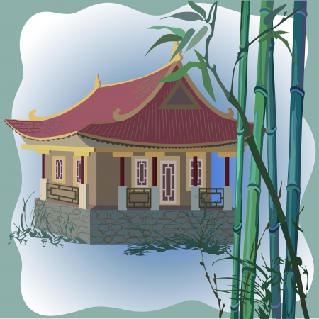 Vector illustration of a pagoda and bamboo Vector