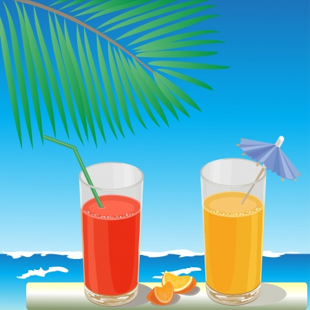 Two glasses of juice on the background of the sea under a palm branch Vector