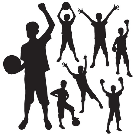silhouettes of the boy with a ball and boxing gloves Vector