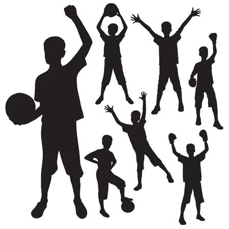 guantes boxeo: siluetas del ni�o con una pelota y los guantes de boxeo Vectores