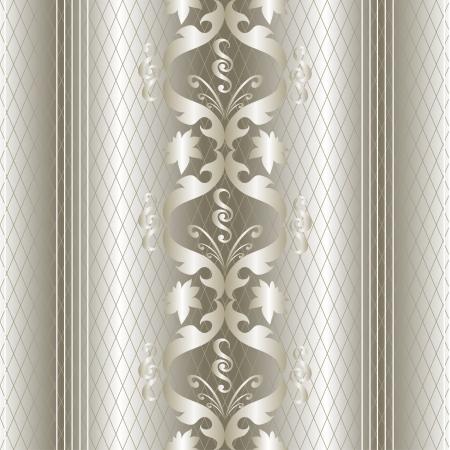 화이트 골드 빈티지 원활한 패턴입니다. 벡터 배경