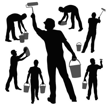 Colección de siluetas de los trabajadores Foto de archivo - 21281096