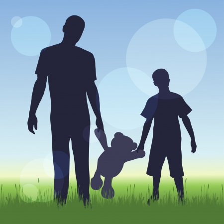 bear silhouette: silhouette of man and a boy on nature background