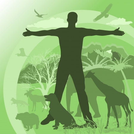man's silhouette on the background of nature and animals Stock Vector - 21281104