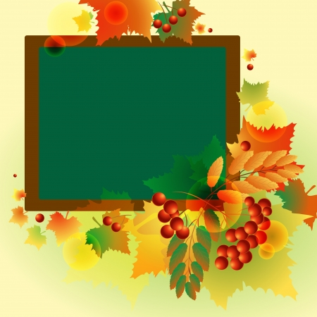 autumn background of leaves and berries Vector