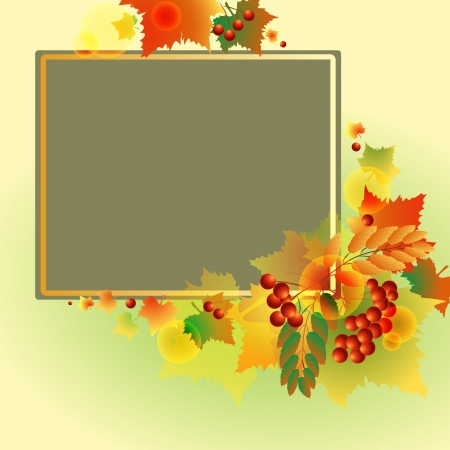 autumn background of leaves and berries Illustration