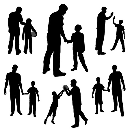 set silhouettes of man and boy, family, dad and son Vector