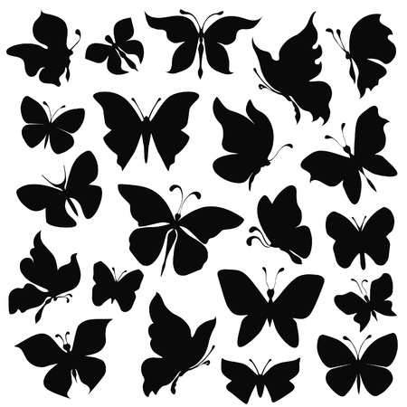 fairy silhouette: black silhouettes butterflies on white background Illustration