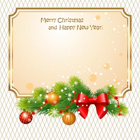 weihnachten gold: Gru�karte mit Zweigen a�en und Weihnachtskugeln Illustration