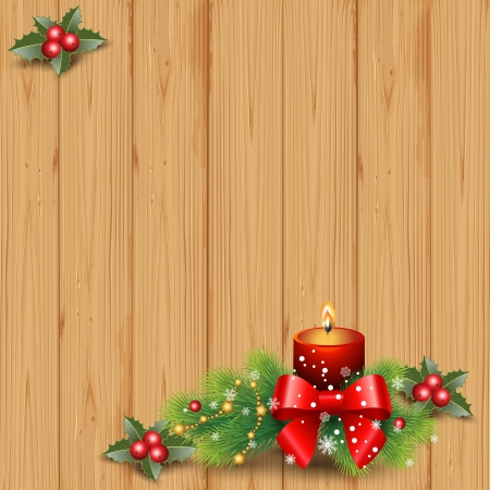 firtree: Christmas background  on  wood, candle and decorative elements Illustration