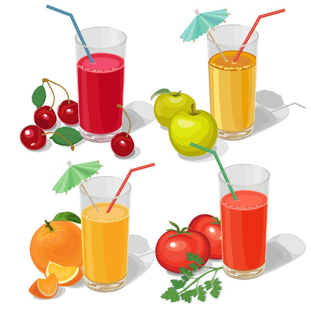set of various fruit juices on white background