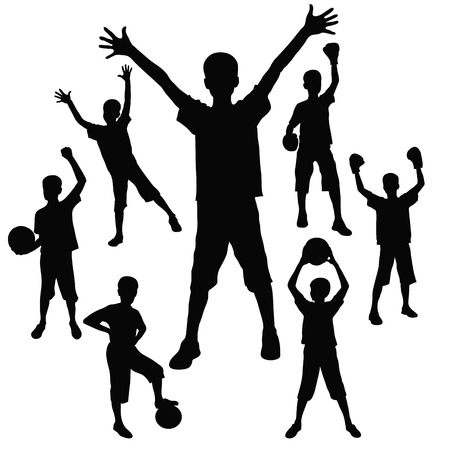 silhouettes of the boy who celebrates sporting victory Vector