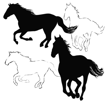 hobby horse: Black and white vector silhouettes with horses Illustration