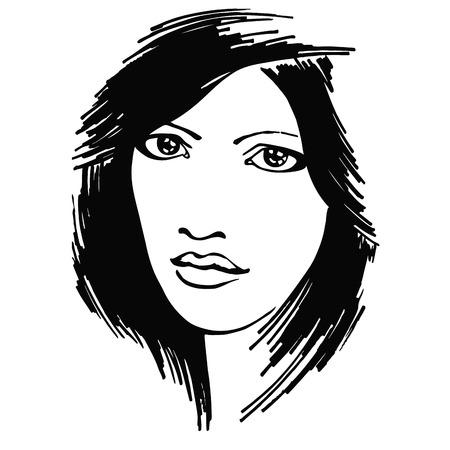 alarmed: portrait beautiful alarmed girl. vector illustration