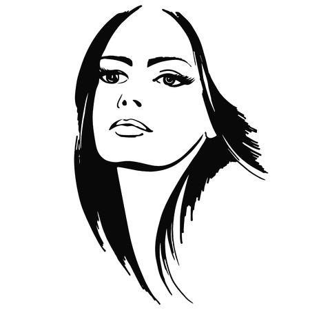 retrato hermosa niña. ilustración vectorial