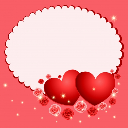 Valentines Day beautiful postcard with roses and heart Vector