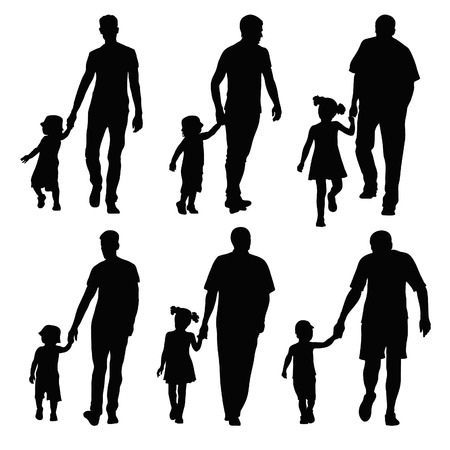fatherhood: group silhouettes dads and children